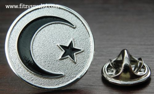 Moon & Star Lapel Hat Cap Tie Metal Pin Badge Crescent Islam Muslim Gift